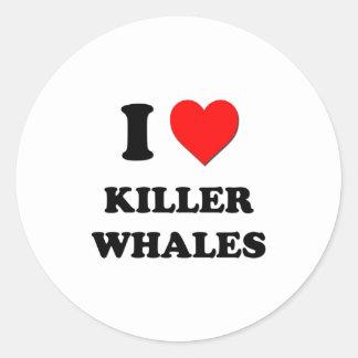 I Love Killer Whales Classic Round Sticker