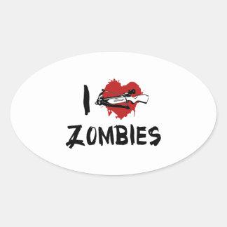I Love Killing Zombies Oval Sticker