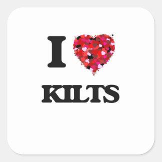 I Love Kilts Square Sticker