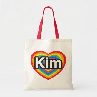 I love Kim. I love you Kim. Heart Tote Bags