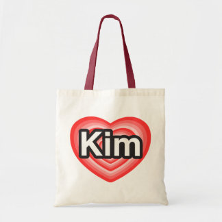 I love Kim. I love you Kim. Heart Canvas Bags
