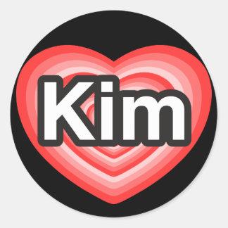 I love Kim. I love you Kim. Heart Classic Round Sticker