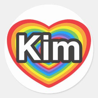 I love Kim. I love you Kim. Heart Round Stickers