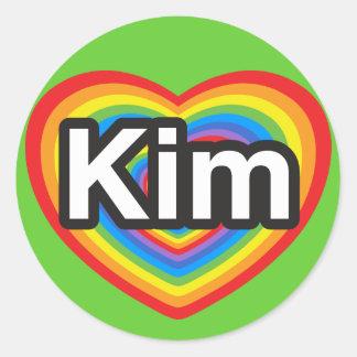 I love Kim. I love you Kim. Heart Round Sticker