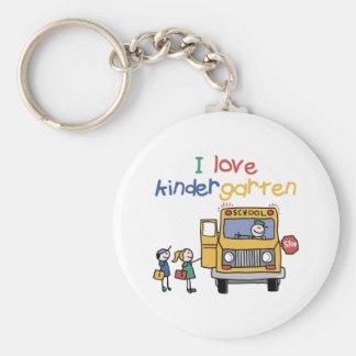 I Love Kindergarten Basic Round Button Keychain