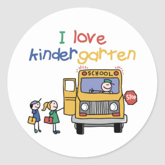 I Love Kindergarten Classic Round Sticker