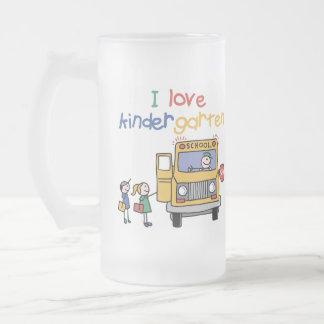 I Love Kindergarten Frosted Glass Beer Mug