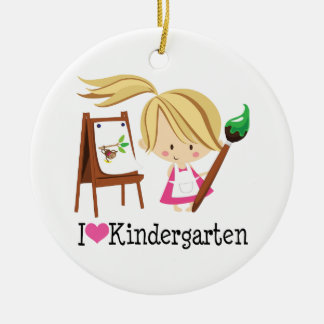 I Love Kindergarten Gift Double-Sided Ceramic Round Christmas Ornament