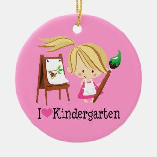 I Love Kindergarten Teacher or Student Gift Double-Sided Ceramic Round Christmas Ornament