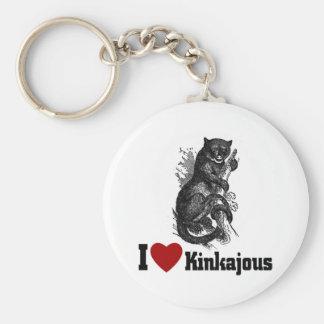 I Love Kinkajous Basic Round Button Keychain