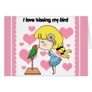 I love kissing my bird cute cartoon cards