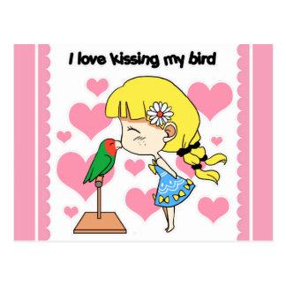 I love kissing my bird cute cartoon postcard