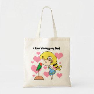 I love kissing my bird cute cartoon tote bag