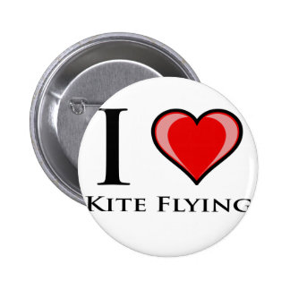 I Love Kite Flying Pinback Button