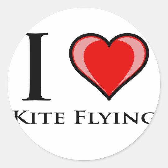 I Love Kite Flying Classic Round Sticker