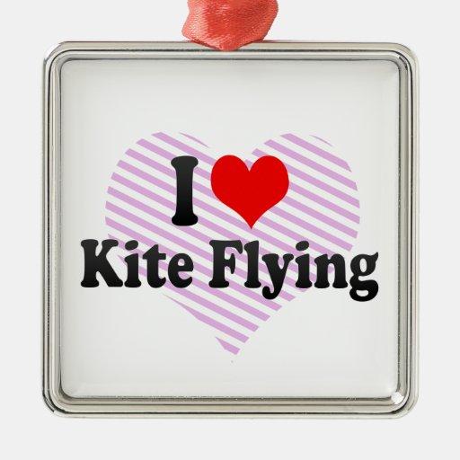 I love Kite Flying Square Metal Christmas Ornament