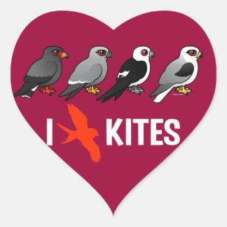 I Love Kites Heart Sticker