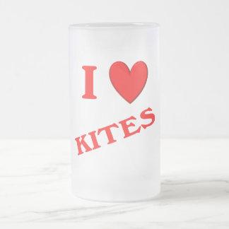 I Love Kites 16 Oz Frosted Glass Beer Mug