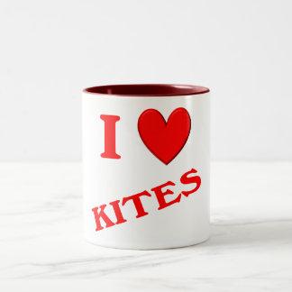 I Love Kites Two-Tone Coffee Mug