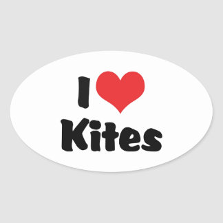 I Love Kites Oval Sticker