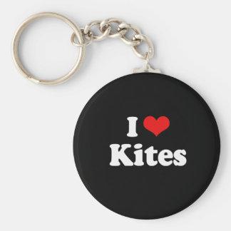 I Love Kites Tshirt Keychain