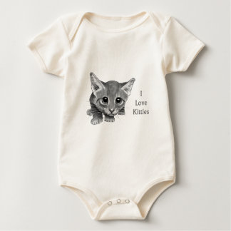 I Love Kitties: Cute Pencil Drawing: Big-Eyed Cat Baby Bodysuit