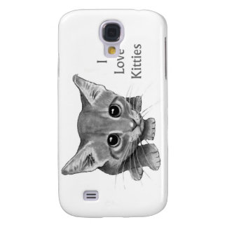 I Love Kitties: Cute Pencil Drawing: Big-Eyed Cat Galaxy S4 Cases