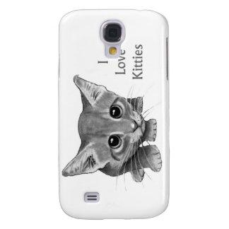 I Love Kitties: Cute Pencil Drawing: Big-Eyed Cat Galaxy S4 Cover