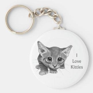 I Love Kitties: Cute Pencil Drawing: Big-Eyed Cat Keychain