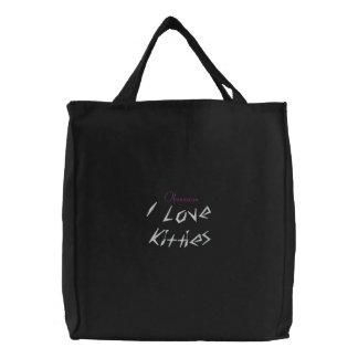I Love Kitties Embroidered Bag