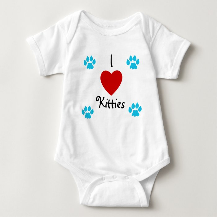 I Love Kitties with blue paws Baby Bodysuit