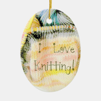 I Love Knitting Awesome Design Yarn Needles Ceramic Ornament