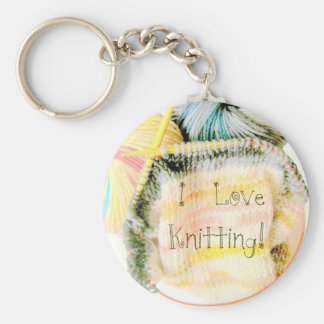 I Love Knitting Awesome Design Yarn Needles Keychain