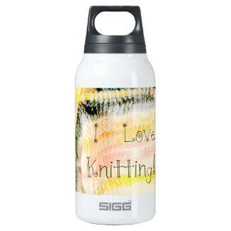 I Love Knitting Awesome Design Yarn Needles 10 Oz Insulated SIGG Thermos Water Bottle
