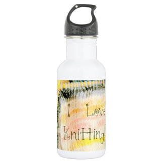 I Love Knitting Awesome Design Yarn Needles Stainless Steel Water Bottle