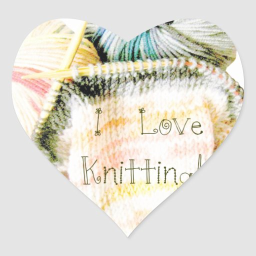 I Love Knitting Awesome Design Yarn Needles Heart Stickers