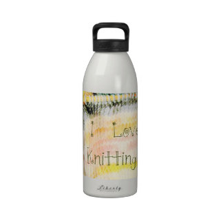 I Love Knitting Awesome Design Yarn Needles Water Bottles