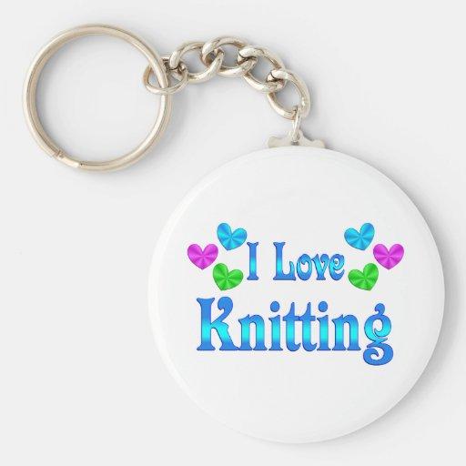I Love Knitting Basic Round Button Keychain