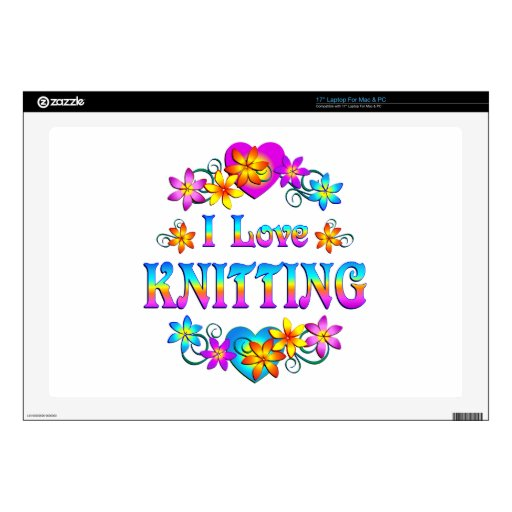 I Love Knitting Decal For Laptop
