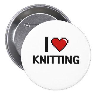 I Love Knitting Digital Retro Design 3 Inch Round Button