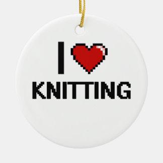 I Love Knitting Digital Retro Design Double-Sided Ceramic Round Christmas Ornament