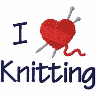 I Love Knitting Embroidered Hooded Sweatshirt