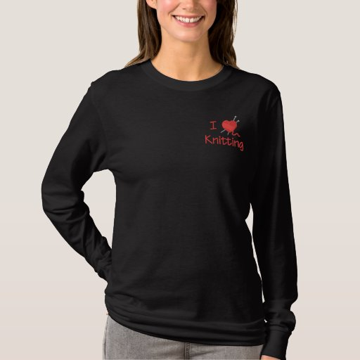 I Love Knitting Embroidered Long Sleeve T-Shirt