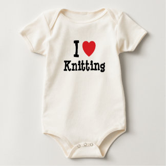 I love Knitting heart custom personalized Baby Bodysuit