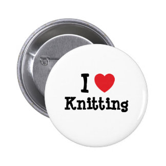 I love Knitting heart custom personalized 2 Inch Round Button