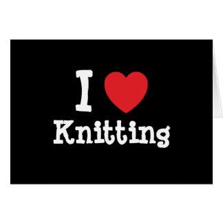 I love Knitting heart custom personalized Card