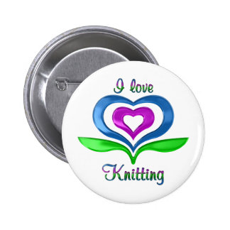 I Love Knitting Hearts 2 Inch Round Button