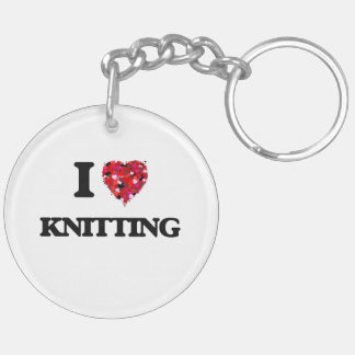I Love Knitting Double-Sided Round Acrylic Keychain