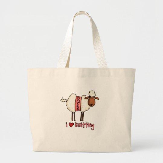 i love knitting large tote bag