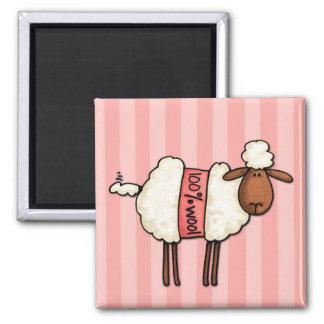 i love knitting 2 inch square magnet